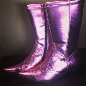 Chinese Laundry Pink Snakeskin Mid Calf Boots sz 6